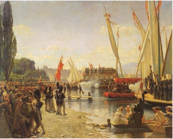 Image internet. Peinture de F. Dufaux. L'arrivée des troupes suisses à Cologny. 1er juin 1814