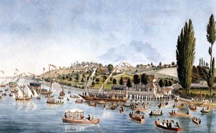 Débarquement des contingents soleurois et Fribourgeois au Port Noir le 1er juin 1814